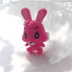 Large Bright Pink Bunny Ring  Kawaii by millypopsuk on Etsy, $6.50