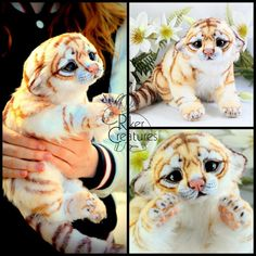 White Golden Tiger Cub - Poseable Fantasy Creature by RikerCreatures