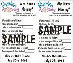 Baby Shower Game *Who Knows Mommy?* 10 Game Cards Per Order. Customized for YOU! in Home & Garden, Greeting Cards & Party Supply, Party Supplies | eBay
