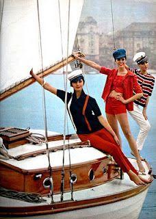 1960s Fashion, Vintage Fashion, Estilo Navy, Nautical Colors, Women's Nautical Style, Nautical Theme, Moda Retro, Pin Up, Sailor Fashion