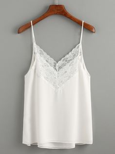 White Lace Trim Chiffon Cami Top — 0.00 € -----------------------color: White size: one-size