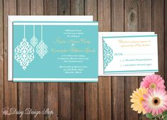Wedding Invitation - Moroccan Exotic Flourishes - Invitation and RSVP Card with Envelopes