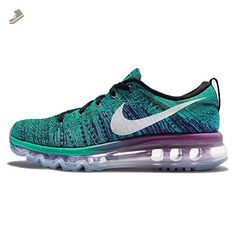 new style 61536 e2fee Nike Womens Wmns Flyknit Max, BLACK WHITE-CLEAR JADE-HYPER VOLT,. Course À  PiedChaussure ...
