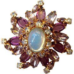 Beautiful vintage Alice Caviness faux opal and rhinestone pin