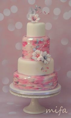 White, pink and silver cake