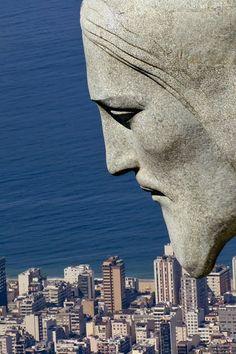 Face of Cristo Redentor - Rio de Janeiro, Brazil -  38 m