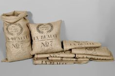Our French Grain Sack Reproduction Burlap Bags. So many uses...what will you make?