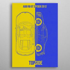 audi gt spyder 2012 detailed, premium quality, magnet mounted prints on metal designed by talented artists. Our posters will make your wall come to life. Audi R8 Gt, Poster Prints, Posters, Print Artist, Good Company, Cool Artwork, Metal, Cars, Design