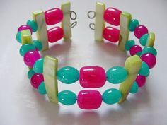 Cuff bracelet Modern Jewelry Turquoise Red Jade Green by icColors, $10.00