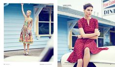 (L) Model poses in Dolce & Gabbana dress (R) Model poses in Burberry London fit and flare dress