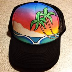 Sunset palm tree painted trucker hat by JulesJewelsJewelry on Etsy e02bec26bc77