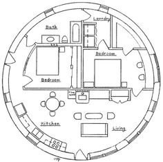 This spacious two bedroom round house design features a large master bedroom with desk and walk-in closet, efficient kitchen and south-facing window wall for excellent solar gain. 855 sq. ft. interior, 2 bedroom, 1 bath; footprint: 36' diameter