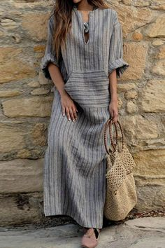 V Neck Kangaroo Pocket Striped Maxi Dresses. Plain DressMaxi Dress With  SleevesMaxi ... a7bc532cb2ee