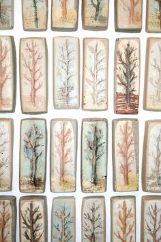 "Hand painted ceramic tile from ""Orchard"" series"
