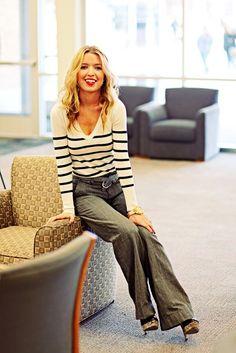 Striped sweater + wide leg pants. Love!