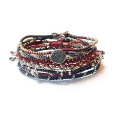 Wakami Liberty Earth Bracelet (387243101) ($35) ❤ liked on Polyvore featuring jewelry, bracelets, red and navy, charm jewelry, knot bangle, beading charms, animal charms and animal jewelry