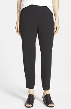 NWT Eileen Fisher Slouchy Ankle Silk Georgette Crepe Black Pants X-Large #EileenFisher #CasualPants