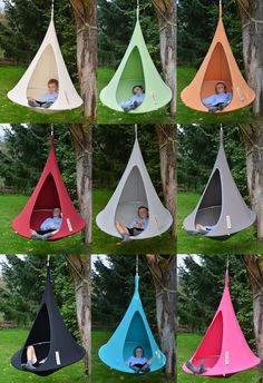 ((build own from fabric and a mini-trampoline)) Cacoon Bonsai Hanging Tent for Kids (kids hammock) Backyard Trampoline, Backyard Playground, Backyard For Kids, Backyard Patio, Hanging Tent, Swinging Chair, Outdoor Play, Garden Furniture, Garden Design