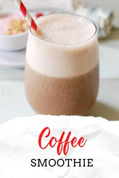 A Smoothie is a great way to start your day or provide you with that afternoon boost you might need. Coffee, Silk Caramel Creamer, ice, vanilla and a frozen banana are blended together to create a delicious pick-me-up. Smoothie Recipes For Kids, Healthy Smoothies, Drink Recipes, Healthy Eats, Healthy Recipes, What's For Breakfast, Quick And Easy Breakfast, Banana Coffee, Good Food