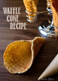 an easy waffle cone recipe. it tastes great, and everyone loves it, it is easy to make bowls or cones and is a huge hit every time(Easy Recipes To Try) Party Desserts, Mini Desserts, Frozen Desserts, Delicious Desserts, Dessert Recipes, Yummy Food, Frozen Treats, Waffle Cone Recipe, Waffle Bowl