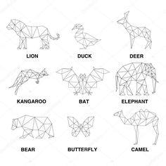 Set of polygons – Lizzy Fatma-Pashieh Geometric animals silhouettes. Set of polygons Geometric animals silhouettes. Set of polygons Geometric Nature, Geometric Drawing, Geometric Animal, Tape Art, 3d Zeichenstift, Animal Drawings, Art Drawings, String Art Diy, Animal Silhouette