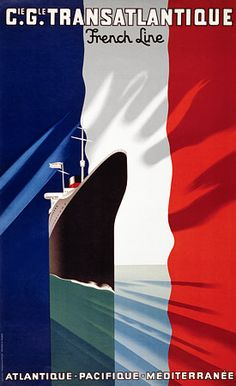 Cie Gle Transatlantique French Line by Colin 1926 France - Beautiful Vintage Poster Reproduction. This vertical French travel poster features a cruise ship sailing through a sea that looks like a French flag. Travel Ads, Cruise Travel, Travel And Tourism, Cruise Vacation, Travel Guide, Art Deco Posters, Poster Prints, Vintage Advertisements, Vintage Ads