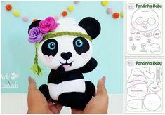 Molde Pandinha baby em feltro - Como Fazer Felt Crafts Diy, Felt Diy, Crafts For Kids, Panda Decorations, Felt Decorations, Alphabet Letter Templates, Panda Craft, Panda Cakes, Panda Party