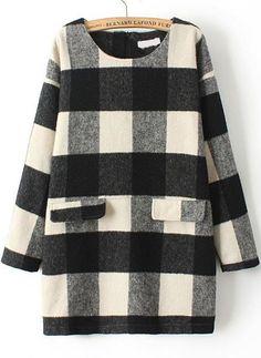 Check Print Pockets Woolen Dress