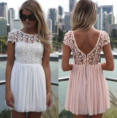 Sexy Lace Dresses European Style Fashion Women Chiffon Dress Backless Patchwork Crochet Ladies Casual Evening Party Club Wear