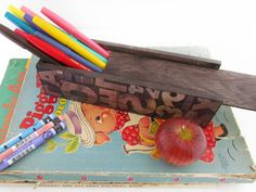 Back to School Pencil Box  Vintage Type Face Blocks by WalterSilva, $15.00