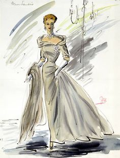 """Fashion Edith Head sketch costume from the 1955 film """"To Catch a Thief"""" Hollywood Fashion, Mode Hollywood, 1950s Fashion, Hollywood Actresses, Brown Evening Dresses, Designer Evening Dresses, Retro Mode, Vintage Mode, Fashion History"""