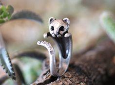 Retro Silver tone Kitty Cat Ring Swarovski Crystals by authfashion, $11.00