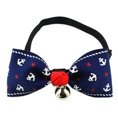 Outtop Gentlemen Anchor Print Dogs Cats Pet Bow Tie with Bell Puppy Kitten Necktie Collar * Check out this great image  : Collars for dogs
