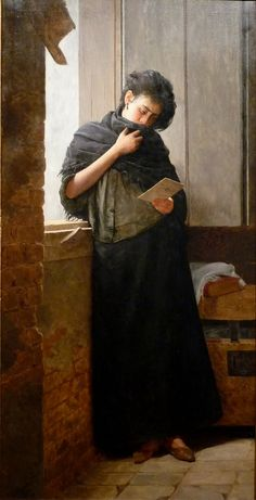 """Saudade (1899).José Ferraz de Almeida Júnior (Brazilian, Realism, 1850 -1899). A young woman laments an absent lover, reading perhaps a letter from him. Saudade is a Portuguese word that roughly translates as """"the love that remains""""—a recollection of feelings, experiences, places or events that once brought excitement, pleasure, which now triggers the senses and makes one live again. It is a nostalgic longing.  Almeida Júnior would become popular for painting rural figures."""
