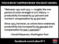 FACT: Unions help increase productivity and workers' compensation.#1u