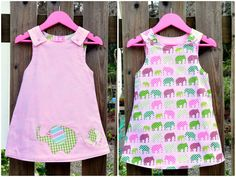 Reversible baby girls reversible dress in sizes 0 - 4 years, Laurie Wisbrun fabric.