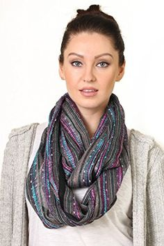 Women's Jewel Shimmer Multicolor Stripe Glamour Scarf / Wrap (Turquoise Green) at Amazon Women's Clothing store: Fashion Scarves