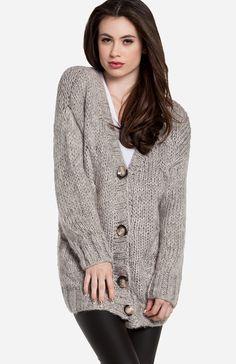 Oversized open knit cardigan