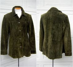 Vintage 70s Suede Leather Jacket Coat M to L Dark by FashionPuss