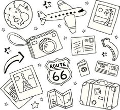A collection of travel-themed doodles. Travel and doodles royalty free vekt . - A collection of travel-themed doodles. Travel and Doodles royalty-free stock vector art This image - Travel Doodles, Bujo Doodles, Free Doodles, Easy Doodles, Planner Doodles, Travel Drawing, Doodle Drawings, Doodle Doodle, Easy Drawings