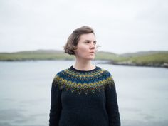 Threipmuir - fingering weight top down sweater with an icelandic inspired stranded colourwork yoke