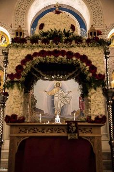 Church Decorations, Flower Decorations, Orthodox Easter, Greek Easter, Church Flower Arrangements, Holy Week, Orthodox Icons, Christianity, Catholic