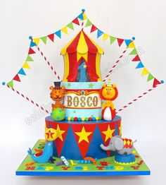 Celebrate with Cake! Carnival Birthday Cakes, Boys 1st Birthday Cake, Carnival Cakes, Carnival Themed Party, Dragon Birthday, Carnival Themes, Circus Birthday, Circus Party, 4th Birthday Parties
