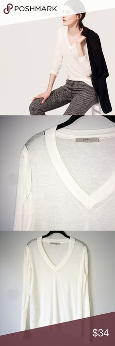 Ann Taylor LOFT Sweater Salt White Pointelle Breezy Linen Blend V-Neck Sweater.  56% Linen, 44% Rayon. The sweater shows signs of light wear, but is in great condition. LOFT Sweaters V-Necks