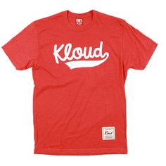 Kloud Classic Script tee Red ($17) ❤ liked on Polyvore featuring tops, t-shirts, shirts, t shirt, red tee, shirt tops, red top and red shirt