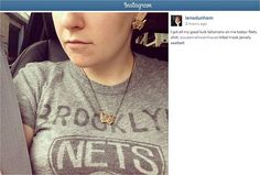Lena Dunham showing off her Junk Food NBA tee on her Instagram https://www.junkfoodclothing.com/webapp/wcs/stores/servlet/Product1_10052_10051_-1_34613