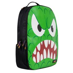I'm Sorry What Did You Say ISWDYS  'Growler' loud and proud scratch proof backpack from Urban Junk.   A Green front Back Attack rucksack with bright green graphic of an angry green monster showing off his nashers.   Complete with orange Urban Junk branding zip tags.   Great for fitting (or stuffing) in EVERYTHING.  Quirky with a hint of cookie for good measure, 'Growler' is unique and really rather epic.  Urban Junk has released its new range of retro junk backpacks.