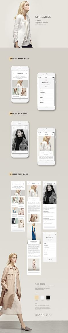 SHESMISS Mobile Redesign - Design by Kim-hana - www.uks on Behance