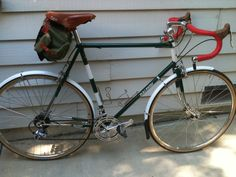 1974 Raleigh Gran Sport, Reynolds 531 Carlton factory bike, powder coated Moss Green (like British Racing Green) with white  accents.  Purchased as a frame and fork only, built up with a mix of new and vintage parts.
