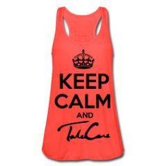 Womens Keep Calm And Take Care Drake Tank Top Coral by YCAF, $25.00